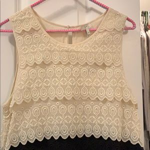 Joie scalloped cream and black dress. Never worn.
